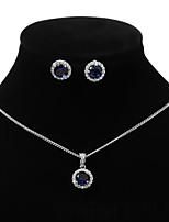 cheap -Women's Hoop Earrings Necklace Geometrical Artistic Simple Fashion Sweet Imitation Diamond Earrings Jewelry Blue / Gold / Silver For Party Wedding Street Daily Festival 3pcs