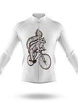 cheap -21Grams Men's Long Sleeve Cycling Jersey Spandex Polyester White Animal Bike Jersey Top Mountain Bike MTB Road Bike Cycling Quick Dry Moisture Wicking Breathable Sports Clothing Apparel / Athleisure