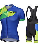 cheap -CAWANFLY Men's Short Sleeve Cycling Jersey with Bib Shorts Cycling Bib Shorts Summer Dark Blue Bike Quick Dry Sports Mountain Bike MTB Road Bike Cycling Clothing Apparel