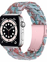 cheap -Smart watch band compatible apple watch 42mm 44mm resin band women men bracelet stainless steel buckle band strap for apple watch se series 6/SE/5/ 4/3/2/1 (green red)