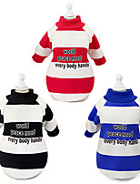 cheap -Dog Cat Sweatshirt Stripes Solid Colored Stripes Dailywear Casual / Daily Winter Dog Clothes Puppy Clothes Dog Outfits Warm Black Red Blue Costume for Girl and Boy Dog Padded Fabric S M L XL XXL