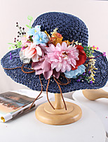 cheap -Vintage Style Elegant Straw Hats / Headwear / Straw Hats with Appliques / Flower / Split Joint 1 PC Casual / Holiday Headpiece