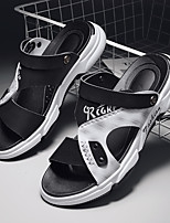 cheap -Men's Sandals Beach Daily Nappa Leather Breathable Non-slipping Wear Proof Black and White White / Silver Brown Summer