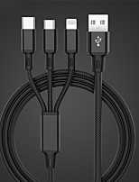 cheap -Micro USB Lightning USB C Cable All-In-1 Braided 1 to 3 2.4 A 1.0m(3Ft) Nylon For Samsung Xiaomi Huawei Phone Accessory