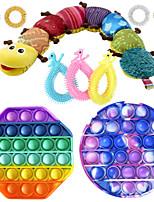 cheap -10 pcs  Fidget Sensory Toy Set Stress Relief Toys Autism Anxiety Relief Stress Pop Bubble Fidget Sensory Toy For Kids Adults
