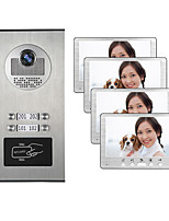 cheap -Multi Apartments Families Color Video Device Door Intercom System With 4 Monitor Building Doorphone Waterproof