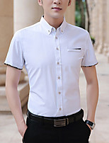 cheap -Men's Shirt Other Prints Solid Colored Solid Color Short Sleeve Casual Tops Basic Casual White Black Wine