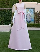 cheap -A-Line Minimalist Elegant Wedding Guest Formal Evening Dress Jewel Neck Sleeveless Floor Length Satin with Bow(s) 2021