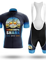cheap -Men's Short Sleeve Cycling Jersey with Bib Shorts Winter Summer Spandex Dark Navy Bike Quick Dry Breathable Sports Letter & Number Mountain Bike MTB Road Bike Cycling Clothing Apparel / Stretchy