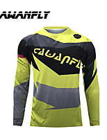 cheap -CAWANFLY Men's Long Sleeve Cycling Jersey Dirt Bike Jersey Winter Black / Yellow Novelty Funny Bike Tee Tshirt Jersey Compression Socks Mountain Bike MTB Road Bike Cycling Breathable Sports Clothing