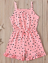 cheap -Toddler Girls' Overall & Jumpsuit Polka Dot Patchwork Blushing Pink Active 2-6 Years