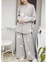 cheap -Women's Home Polyester Pant everyday Suits Long Sleeve Print Spring & Summer Print S White