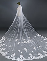 cheap -One-tier Cute Wedding Veil Chapel Veils with Solid 118.11 in (300cm) Lace / Tulle