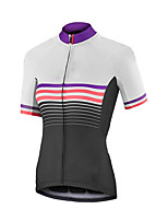 cheap -21Grams Women's Short Sleeve Cycling Jersey Summer Spandex Polyester White Stripes Bike Jersey Top Mountain Bike MTB Road Bike Cycling Quick Dry Moisture Wicking Breathable Sports Clothing Apparel