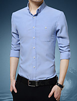 cheap -Men's Shirt non-printing Solid Colored Solid Color Long Sleeve Casual Tops Basic Casual White Blue Red
