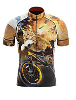 cheap -21Grams Men's Short Sleeve Cycling Jersey Summer Spandex Polyester Black / Orange Cat Bike Jersey Top Mountain Bike MTB Road Bike Cycling Quick Dry Moisture Wicking Breathable Sports Clothing Apparel