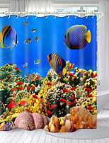 cheap -Colorful Coral Fish Digital Printing Shower Curtain Shower Curtains Hooks Modern Polyester New Design
