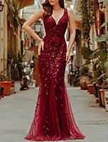 cheap -Mermaid / Trumpet Empire Elegant Party Wear Prom Dress V Neck Short Sleeve Floor Length Tulle with Embroidery 2021