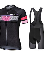 cheap -CAWANFLY Women's Short Sleeve Cycling Jersey with Bib Shorts Cycling Bib Shorts Summer Black Bike Quick Dry Sports Mountain Bike MTB Road Bike Cycling Clothing Apparel