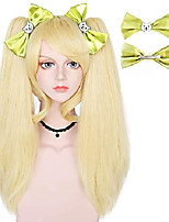 cheap -anogol blonde wig+ {2 green bowknot clips} for women long straight cosplay wigs with ponytails synthetic for anime