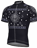 cheap -21Grams Men's Short Sleeve Cycling Jersey Summer Spandex Polyester Black Galaxy Bike Jersey Top Mountain Bike MTB Road Bike Cycling Quick Dry Moisture Wicking Breathable Sports Clothing Apparel
