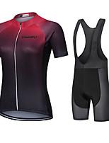 cheap -CAWANFLY Women's Short Sleeve Cycling Jersey with Bib Shorts Cycling Bib Shorts Summer Black / Red Bike Quick Dry Sports Mountain Bike MTB Road Bike Cycling Clothing Apparel