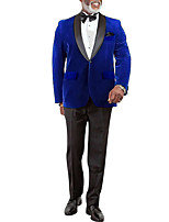 cheap -Men's Ceremony Suits Shawl Collar Tailored Fit Single Breasted One-button Straight Flapped Solid Color Polyester