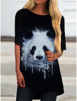 cheap -Women's T Shirt Dress Tee Dress Short Mini Dress Black Half Sleeve Print Animal Print Spring Summer Round Neck Casual 2021 S M L XL XXL 3XL