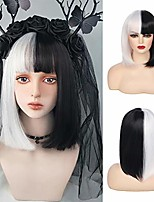 cheap -beweig half black white bob wigs with bangs short straight synthetic heat resistant wigs for daily party cosplay halloween costume