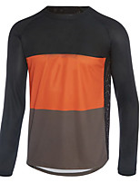 cheap -21Grams Men's Long Sleeve Cycling Jersey Spandex Polyester Black / Orange Patchwork Bike Jersey Top Mountain Bike MTB Road Bike Cycling Quick Dry Moisture Wicking Breathable Sports Clothing Apparel