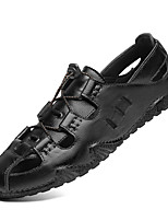 cheap -Men's Sandals Gladiator Sandals Roman Sandals Beach Roman Shoes Daily Nappa Leather Breathable Wear Proof Black Brown Spring Summer