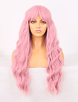 cheap -Cosplay Costume Wig Synthetic Wig Wavy Bouncy Curl Middle Part Neat Bang Wig 24 inch Pink Synthetic Hair Women's Odor Free Fashionable Design Soft Pink