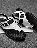 cheap -Men's Sandals Beach Daily Nappa Leather Breathable Non-slipping Wear Proof White Black Gray Summer