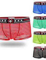 cheap -Men's 1 PC Basic Boxers Underwear / Briefs Underwear Low Waist Black Blue Red M L XL