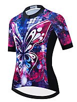 cheap -21Grams Women's Short Sleeve Cycling Jersey Summer Spandex Polyester Fuchsia Butterfly Bike Jersey Top Mountain Bike MTB Road Bike Cycling Quick Dry Moisture Wicking Breathable Sports Clothing Apparel