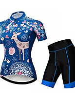 cheap -Women's Short Sleeve Cycling Jersey with Shorts Summer Spandex Blue Floral Botanical Deer Bike Quick Dry Breathable Sports Floral Botanical Mountain Bike MTB Road Bike Cycling Clothing Apparel