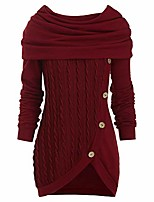 cheap -women casual cowl neck sweater ladies autumn long sleeve cable knit button tunic asymmetric hem wrap pullover tops (wine red, s)