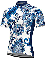 cheap -21Grams Men's Short Sleeve Cycling Jersey Summer Spandex Polyester Blue Floral Botanical Bike Jersey Top Mountain Bike MTB Road Bike Cycling Quick Dry Moisture Wicking Breathable Sports Clothing