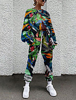 cheap -Women's Basic Streetwear Floral Plant Vacation Casual / Daily Two Piece Set Tracksuit T shirt Pant Loungewear Drawstring Print Tops