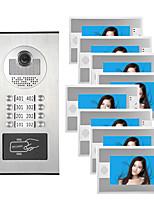 cheap -7inch RFID IR-CUT Multi-Storey Residential Buildings Intercom Video Doorbell RFID Reader For 8 Families Video Doorphone Kit
