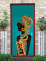 cheap -2pcs Self-adhesive Creative African Woman Door Stickers For Living Room Diy Decoration Home Waterproof Wall Stickers