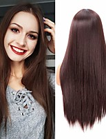 cheap -22 inch Long Straight Half Wig for Black Women Half Blonde and Half Black Wig Fashion Synthetic Fiber Middle Parted Wig Heat Resistant Silky Smooth Wig Party Halloween Cosplay Daily Costume