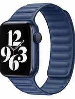 cheap -Smart watch band leather link band compatible with apple watch band 38mm 40mm 42mm 44mm iwatch series 6 5 se 4 3 2 1 strap, latest magnetic stainless steel adjustable wrist replacement, 38/40mm