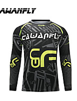 cheap -CAWANFLY Men's Long Sleeve Cycling Jersey Dirt Bike Jersey Winter Black Novelty Funny Bike Tee Tshirt Jersey Compression Socks Mountain Bike MTB Road Bike Cycling Breathable Sports Clothing Apparel