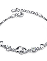 cheap -Women's Bracelet Pendant Bracelet Geometrical Heart Fashion Copper Bracelet Jewelry Silver / Purple For Christmas Party Wedding Daily Work / Silver Plated