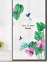 cheap -Floral Plants Wall Stickers Study Room Bedroom Pre-pasted PVC Home Decoration Wall Decal 1pc