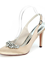 cheap -Women's Wedding Shoes Stiletto Heel Pointed Toe Satin Rhinestone Solid Colored White Black Champagne