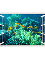 cheap -3D False Window Underwater Aquatic Grass Fish Group Home Children's Room Background Decoration Can Be Removed Stickers