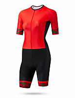 cheap -CAWANFLY Women's Short Sleeve Cycling Jersey Summer Red+Black Bike Quick Dry Breathable Sports Patterned Mountain Bike MTB Road Bike Cycling Clothing Apparel / Racing / Micro-elastic / Triathlon
