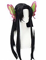 cheap -missvig cosplay wig anime long straight hair halloween costume demon slayer dark brown synthetic with butterfly headware